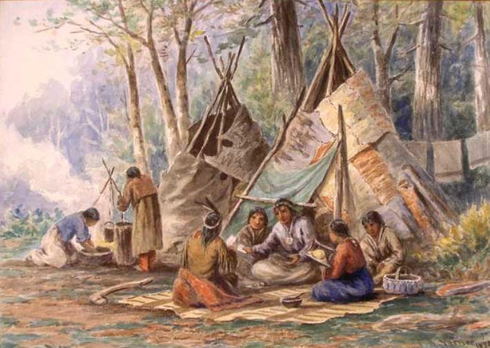 Ojibwa family gathering 1878 Frederick Varner