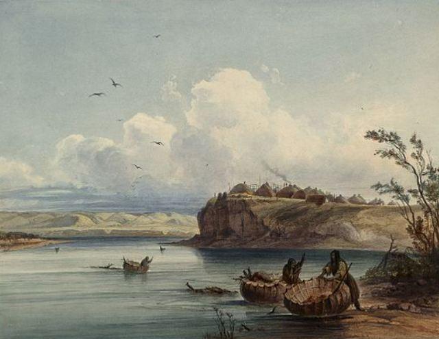 Karl Bodmer, Mandandorp op klif