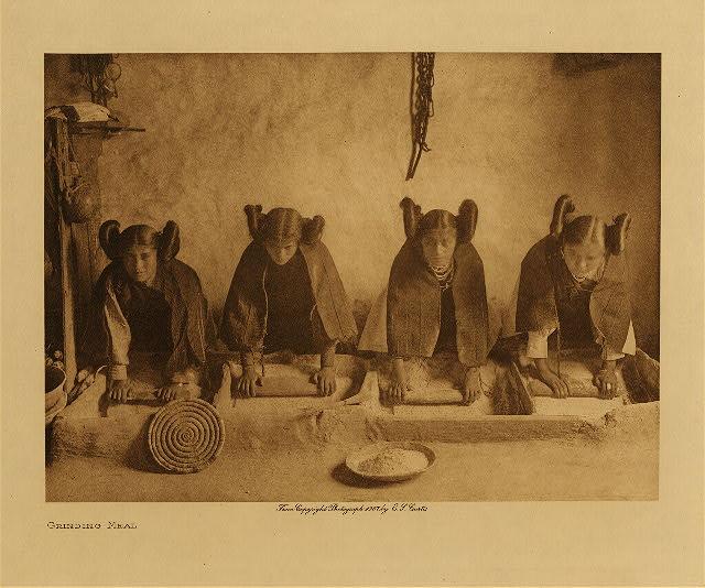 Curtis Grinding meal (Hopi)